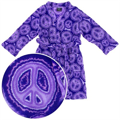 Purple Peace Sign Fleece Bathrobe for Girls