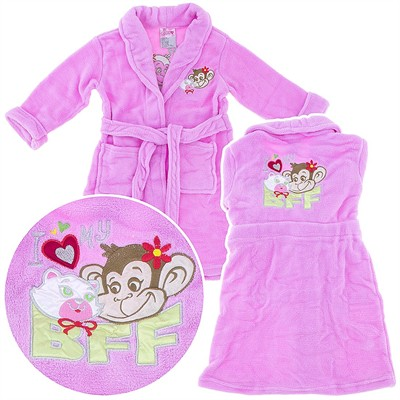 Pink Kitty and Monkey BFF Plush Bathrobe for Girls