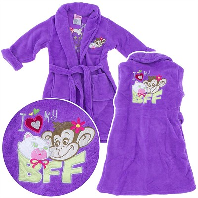 Purple Kitty and Monkey BFF Plush Bathrobe for Toddlers and Girls
