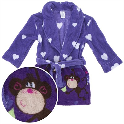 Purple Monkey Plush Bath Robe for Girls