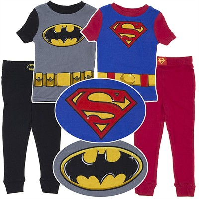 Batman and Superman Cotton Pajamas for Boys