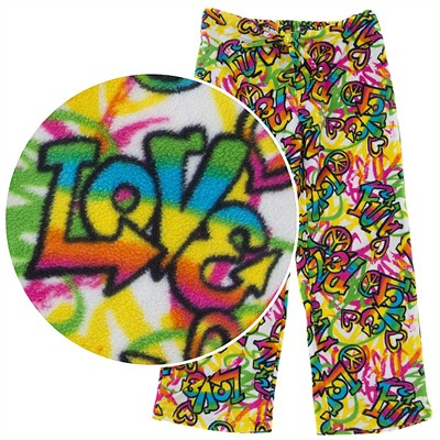 BeePOSH Peace, Love, Fun Fleece Pajama Pants for Girls