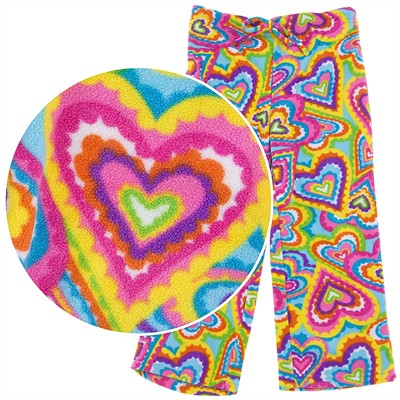 BeePOSH Rainbow Heart Plush Pajama Pants for Girls