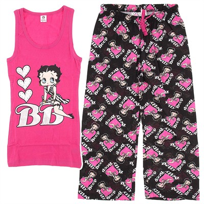 Betty Boop Pink and Black Capri Pajamas for Women