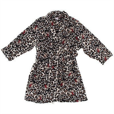 Betty Boop Brown Leopard Bath Robe for Women