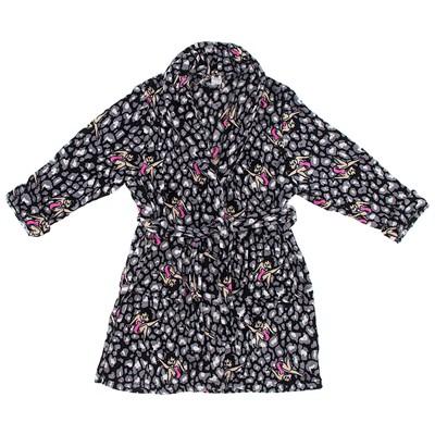 Betty Boop Gray Leopard Bath Robe for Women