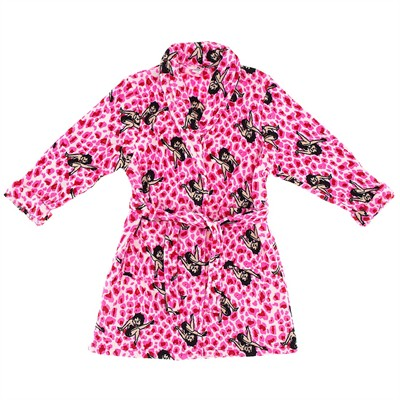 Betty Boop Bright Pink Leopard Bath Robe for Women