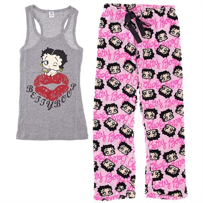 Gray Betty Boop Plush Pajamas for Women