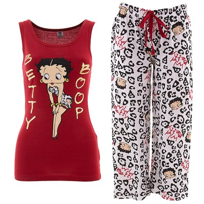 Red Betty Boop Wild Betty Capri Pajamas for Women
