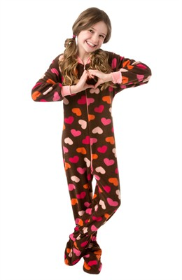 Big Feet Brown Heart Footed Pajamas for Girls