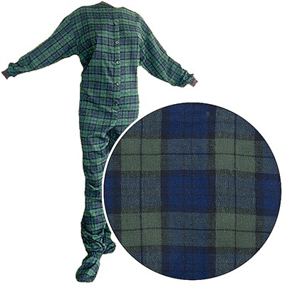 Big Feet PJs Green Plaid Flannel Footed Pajamas for Women and Men