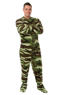 Big Feet PJs Green Camo Footed Pajamas for Adults
