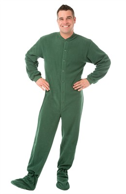 Big Feet PJs Green Fleece Footed Pajamas for Women and Men
