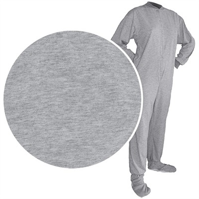Big Feet PJs Gray Knit Footed Pajamas for Men and Women