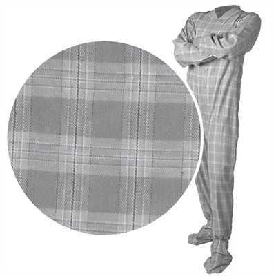 Big Feet PJs Gray Plaid Flannel Pajamas for Men and Women