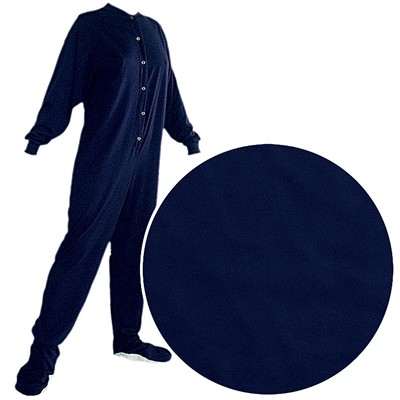 Big Feet PJs Navy Knit Footed Pajamas for Adults