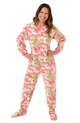 Big Feet PJs Pink Camo Footed Pajamas for Women