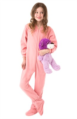 Big Feet PJs Pink Fleece Footed Pajamas for Girls