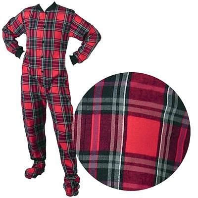 Big Feet PJs Red Plaid Flannel Footed Pajamas for Women and Men