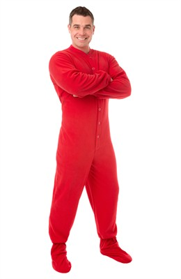 Big Feet PJs Red Fleece Footed Pajamas for Women and Men
