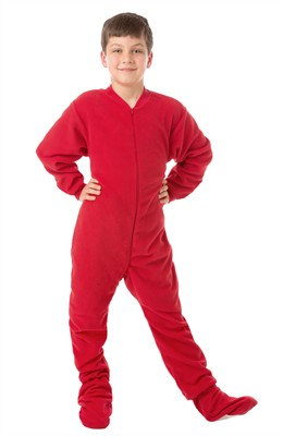 Big Feet PJs Red Fleece Footed Pajamas for Kids