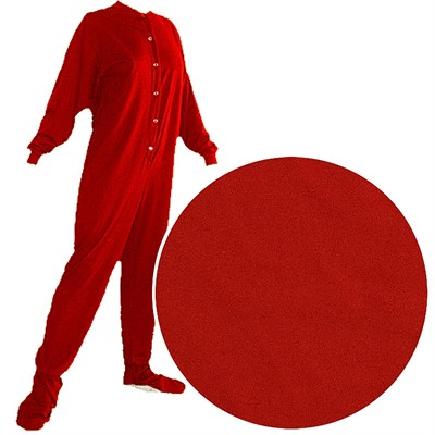 Big Feet PJs Red Knit Footed Pajamas for Women and Men