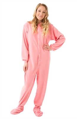 Big Feet PJs Rose Fleece Footed Pajamas for Women