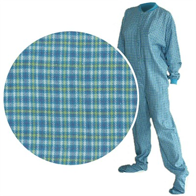 Big Feet PJs Turquoise Flannel Pajamas for Men and Women