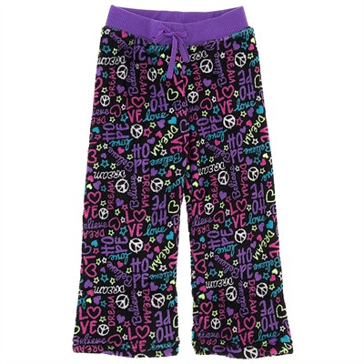 Black Peace Fleece Pajama Bottoms for Girls