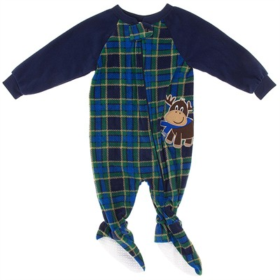 Blue Plaid Reindeer Blanket Sleeper for Boys