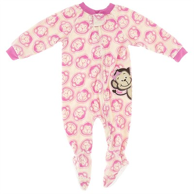 Ivory Monkey Blanket Sleeper for Girls