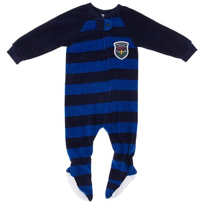 Navy and Blue Striped Blanket Sleeper for Boys