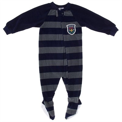 Navy and Gray Striped Blanket Sleeper for Boys