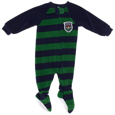 Navy and Green Striped Blanket Sleeper for Boys