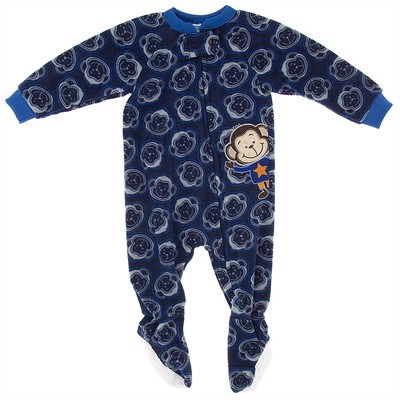 Navy Monkey Blanket Sleeper for Boys