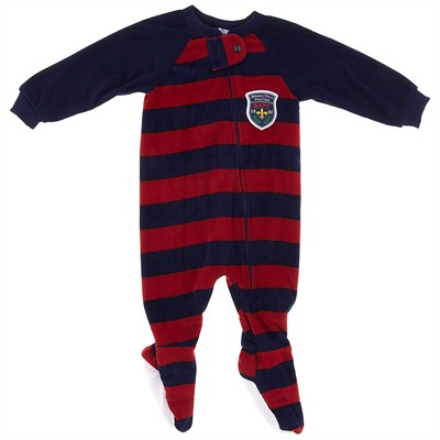 Navy and Red Striped Blanket Sleeper for Boys
