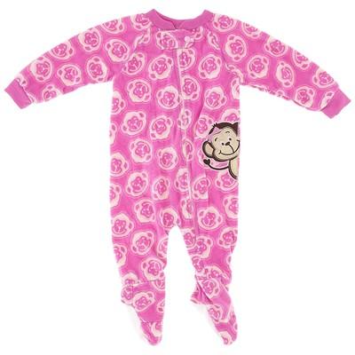 Pink Monkey Blanket Sleeper for Girls