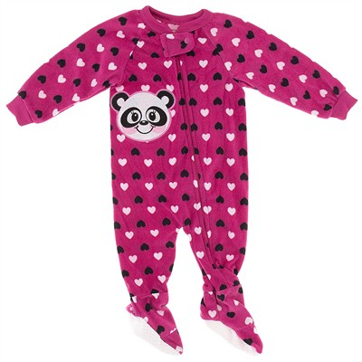 Dark Pink Panda Blanket Sleeper for Girls