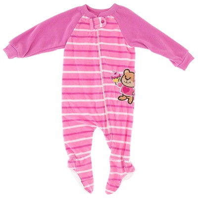 Pink Striped Teddy Bear Blanket Sleeper for Girls