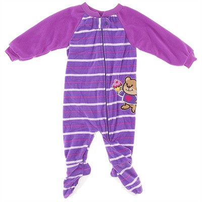 Purple Striped Teddy Bear Blanket Sleeper for Girls