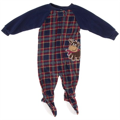 Red Plaid Reindeer Blanket Sleeper for Boys