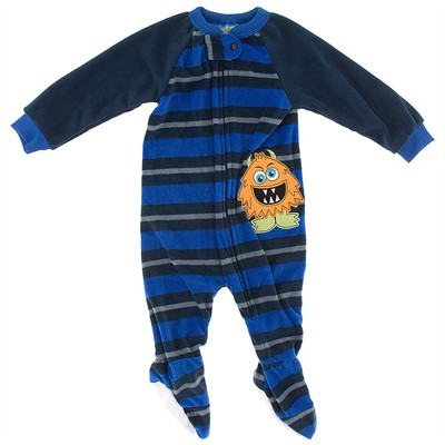 Royal Blue Striped Monster Blanket Sleeper for Boys