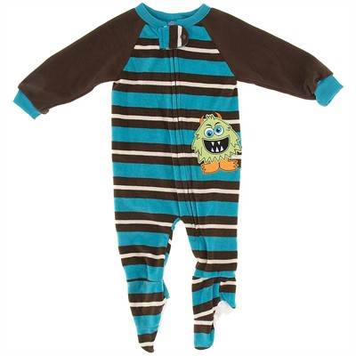 Turquoise Striped Monster Blanket Sleeper for Boys