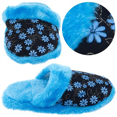 Blue Floral Slip On Slippers for Toddler Girls