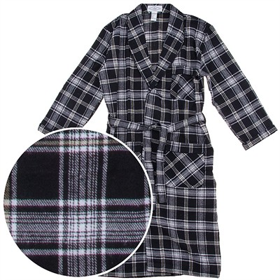 Black Plaid Flannel Bathrobe for Men