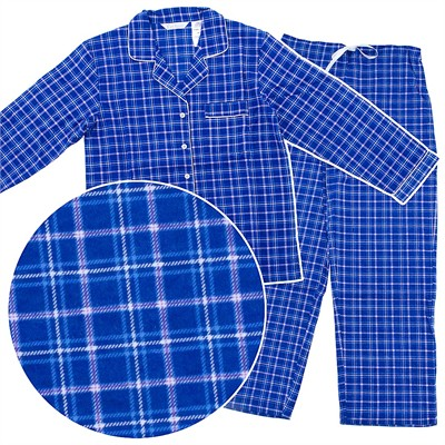 Blue Plaid Flannel Pajamas for Women