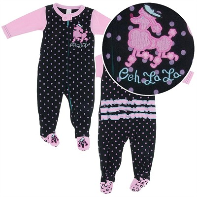 Black Poodle Footed Sleeper Pajamas for Baby Girls
