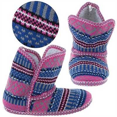Pink and Blue Fair-Isle Bootie Slippers for Women