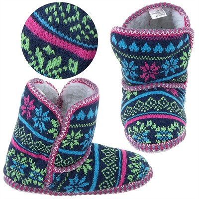 Green, Blue, and Pink Fair-Isle Bootie Slippers for Women