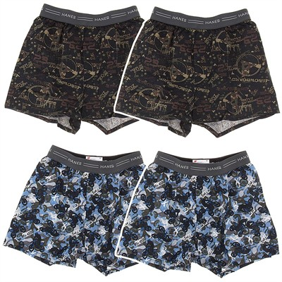 Hanes Bike Print Set of 4 Cotton Boxers for Boys